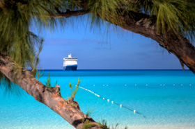 cruise ship near desert island